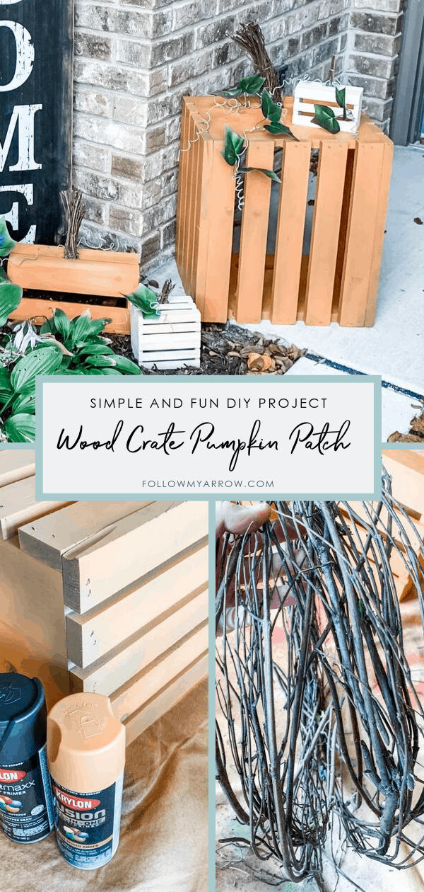 DIY Wood Crate Pumpkin Patch Outdoor Decor